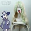 主宰者 小魔女学园 戴安娜·卡文迪什 米白间隔浅绿色长卷发 cosplay假发 435A