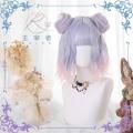 主宰者 日系原宿 蓝紫色渐变橘粉色洛丽塔 短发+虎口夹发包假发套 LOLI-023